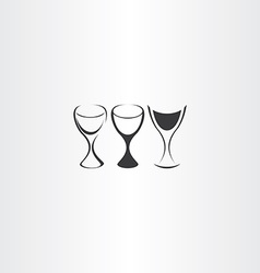stylized wine glass set design vector image