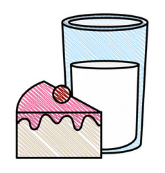 Sweet cake portion with milk glass vector
