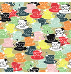 Tea cups pattern background vector