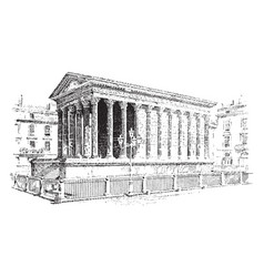 Temple roman architecture vintage engraving vector