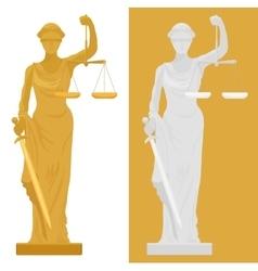 Themis femida statue in two vector