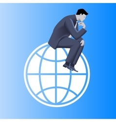 Thinking globally business concept vector