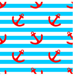 tile sailor pattern with a red anchor on stripes vector image