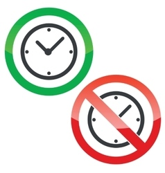 Time permission signs set vector