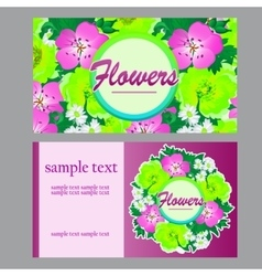 Two bright cards in floral style for business vector image