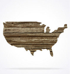 usa map old rustic timber cutout vector image