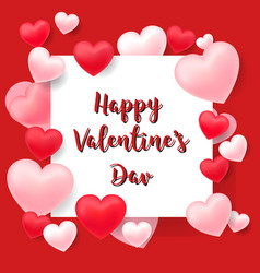 valentine card with red and pink hearts vector image