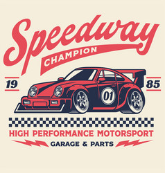 Vintage retro shirt design racing car vector