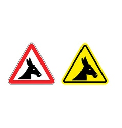 Warning sign attention donkey Dangers yellow sign vector