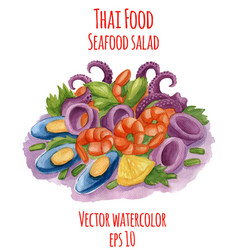 watercolor-style of thai-food vector image