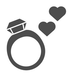 Wedding ring solid icon ring with gemstone vector