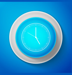 white clock icon on blue background time icon vector image