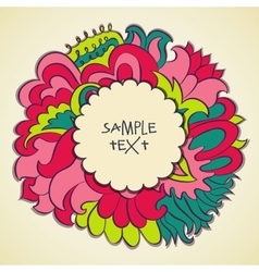 floral color round frame design text template vector image