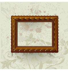 gilded frame on grunge wall vector image
