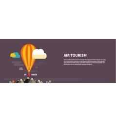 Hot air balloon flying over the mountain vector image