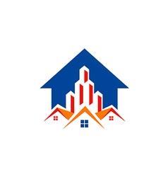 house realty building construction arrow logo vector image vector image
