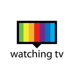 logo with a spectrum in the TV screen vector image vector image