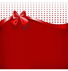 Red Ribbon and Bow on red paper texture background vector image vector image
