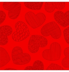 Seamless pattern with sketching hearts red vector image vector image