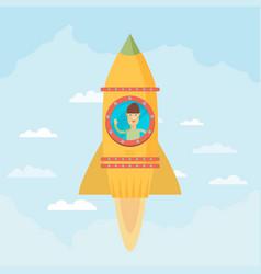 startup business flat design man in a rocket vector image