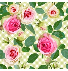 Checked Seamless Pattern with Roses vector image vector image