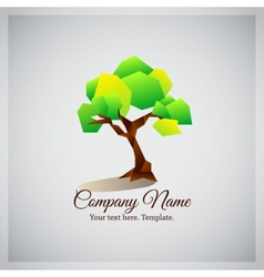 Company business logo with geometric green tree vector image vector image
