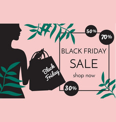 black friday sale banner with fashionable woman vector image vector image