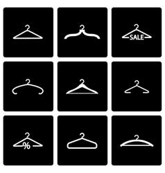 black hanger icon set vector image