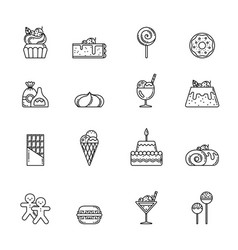desert icon set cupcake sweets and other vector image