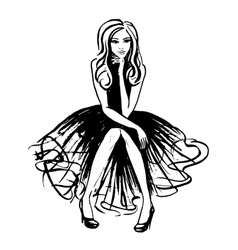 Fashion of sitting woman vector image vector image