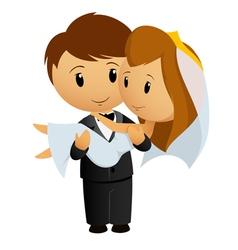 groom hold bride vector image vector image