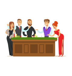 happy people gambling at table in casino colorful vector image