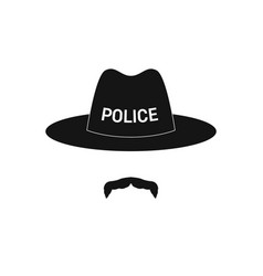 sheriff avatar mustachioed policeman in hat vector image