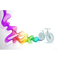 Abstract colorful background with wave and bicycle vector image vector image