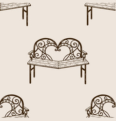 Reconciliation bench seamless pattern engraving vector