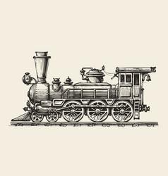 vintage locomotive hand-drawn retro train sketch vector image vector image