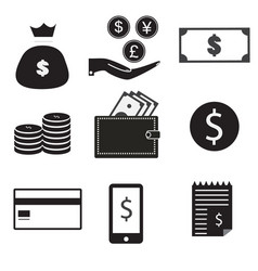 9 icon set dollar bag money on hand money coin vector