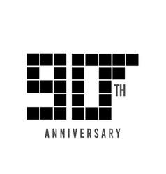 90 th anniversary pixel model template design vector