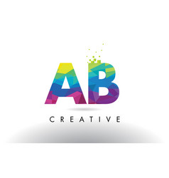 Ab a b colorful letter origami triangles design vector