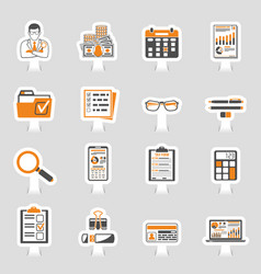 auditing tax accounting sticker icons set vector image