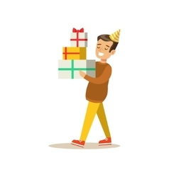 Boy carrying piled presents kids birthday party vector