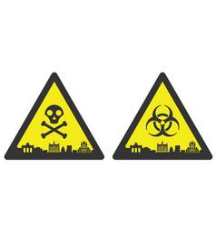 brussels danger emergency biological hazard signs vector image