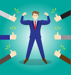 Businessman getting thumbs up from others vector