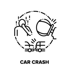 Car crash traffic accident concept black vector
