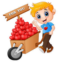 Cartoon boy pushing a pile of hearts in wood troll vector
