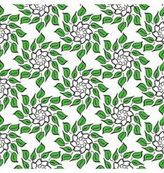 Cartoon circular floral pattern on white vector