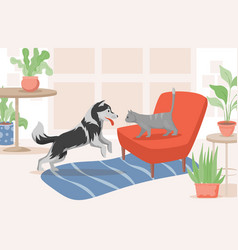 Cat and dog in living room flat vector