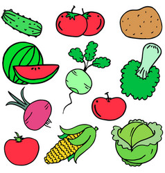 Collection stock of vegetables set art vector