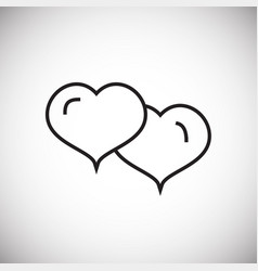 couple hearts thin line on white background vector image