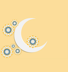 crescent paper moon with arabesque geometric star vector image
